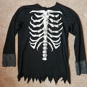 In character costumes black and white bones shirt